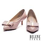 高跟鞋 HELENE SPARK 氣質名媛風金飾蝴蝶結羊皮尖頭高跟鞋-粉
