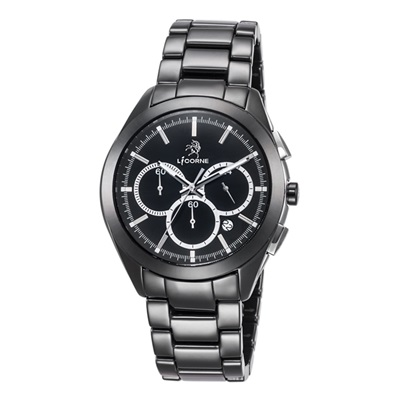 LICORNE 恩萃 Entree  品味時光印刻陶瓷腕錶-白/43mm