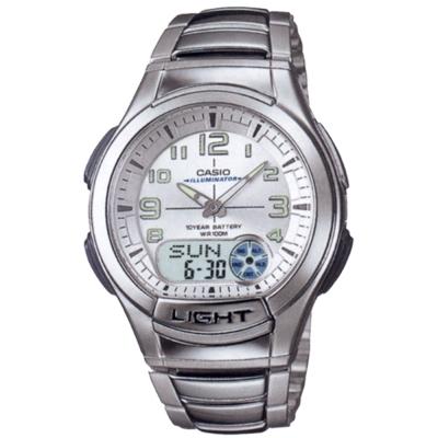 CASIO 超世代強光雙顯時區運動錶(AQ-180WD-7B)-白/41mm