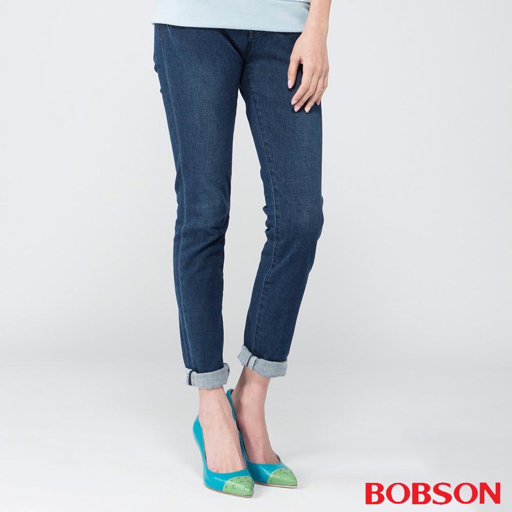 BOBSON   女款膠原蛋白美肌褲-深藍