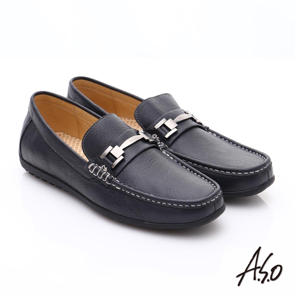 A.S.O 輕量抗震 真皮經典飾釦奈米樂福鞋 深藍色