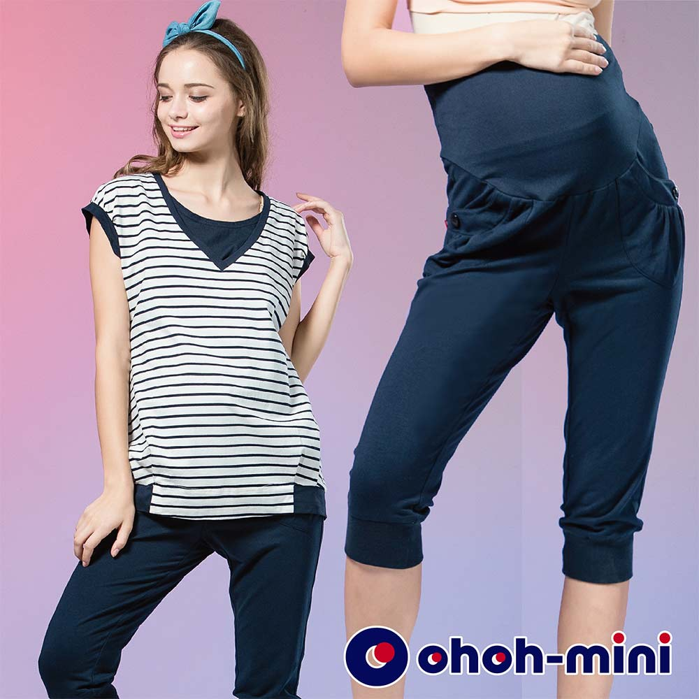 ohoh-mini 孕婦裝 貼口袋休閒束口居家六分褲-2色