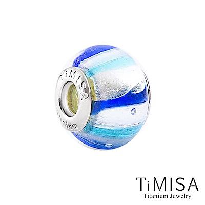 TiMISA 彈珠-藍白(11mm)純鈦琉璃 墜飾串珠