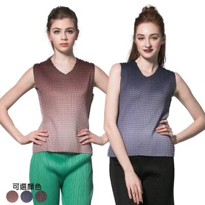 休閒風漸層V領壓摺背心上衣(共三色)-玩美衣櫃