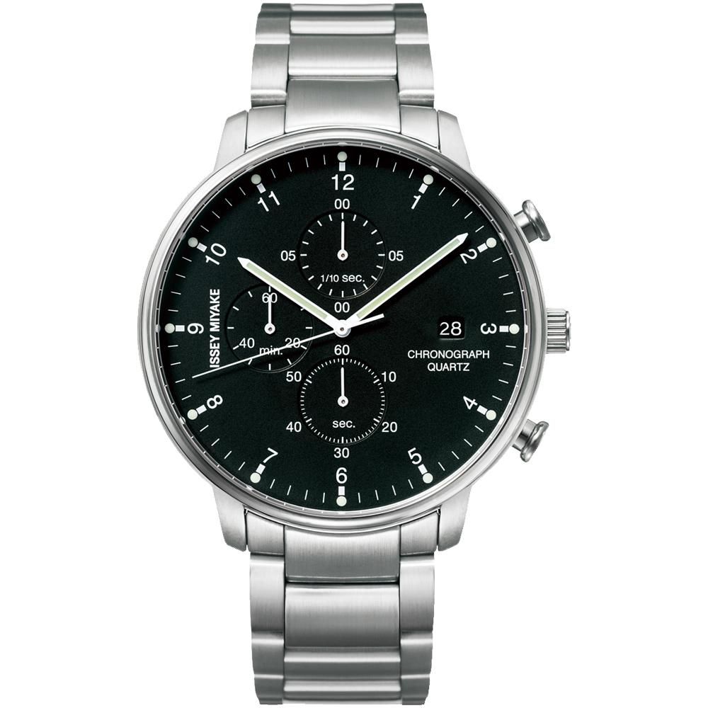 ISSEY MIYAKE 三宅一生C系列三眼計時腕錶(NYAD001Y)-黑x銀/42mm