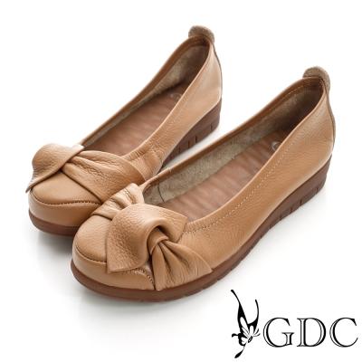 GDC百搭-側蝴蝶加厚真皮平底娃娃鞋-駝色