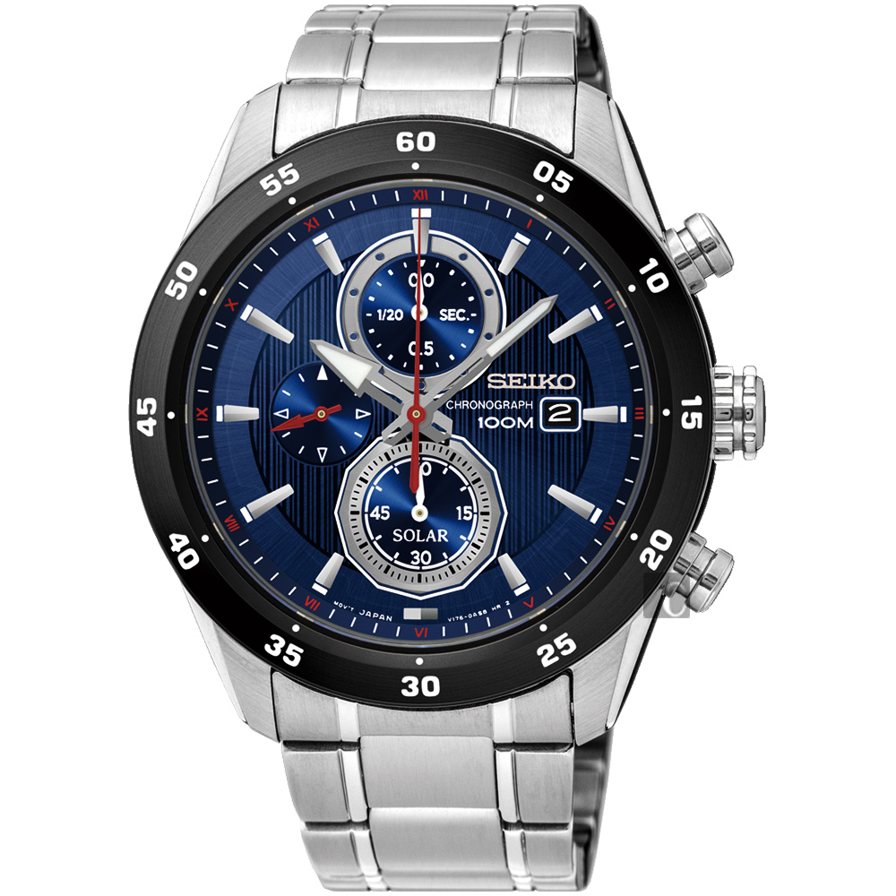SEIKO精工 Criteria 太陽能計時腕錶(SSC533P1)-藍/42mm