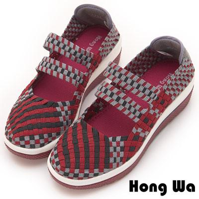 Hong Wa 休閒運動手工感厚底二條帶造型編織械型包鞋 - 棗紅