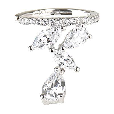 apm MONACO LES CASCADES系列垂墜水滴晶鑽鑲飾純銀單耳骨夾耳環-銀