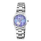 HELLO KITTY 凱蒂貓繽紛格紋造型手錶-紫/30mm