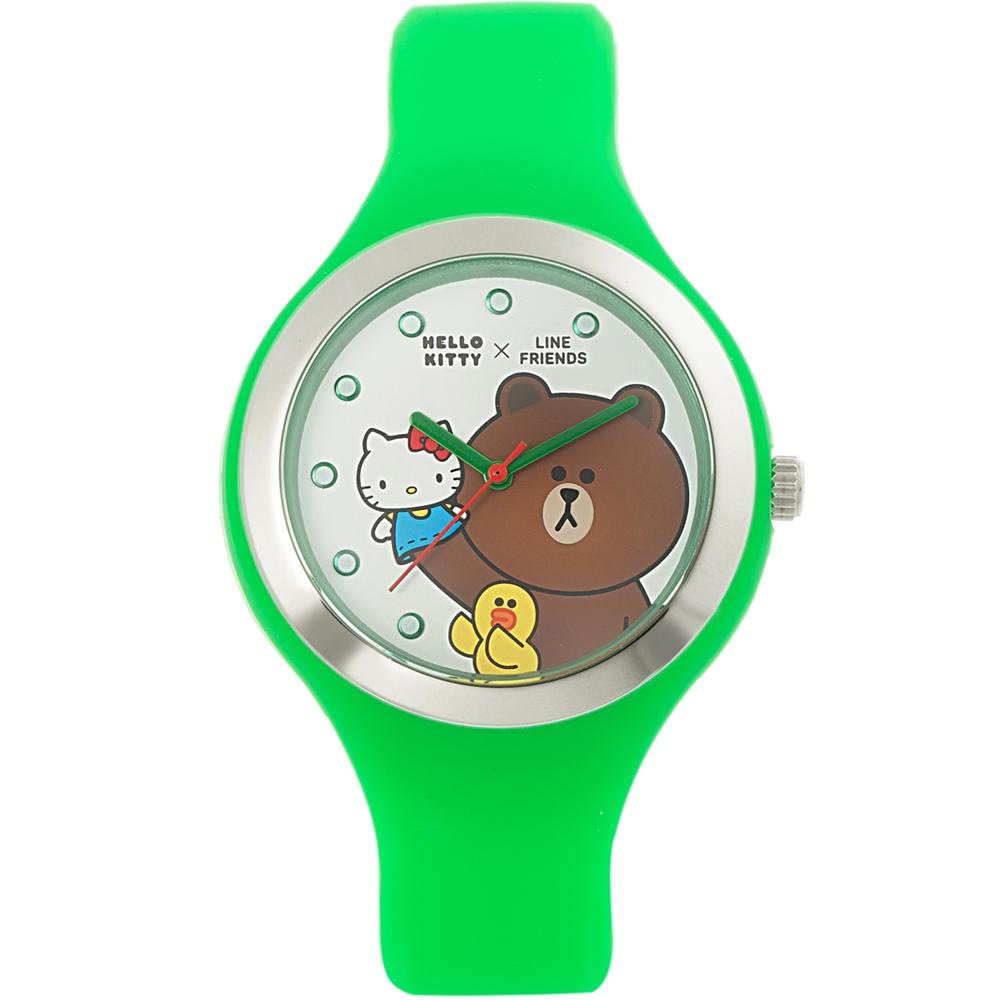 HELLO KITTY 凱蒂貓 x LINE 限量聯名超萌熊大手錶-綠/40mm