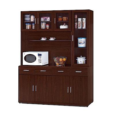 品家居 希貝5.3尺胡桃木紋餐櫃組合-160.2x43x207.5cm免組