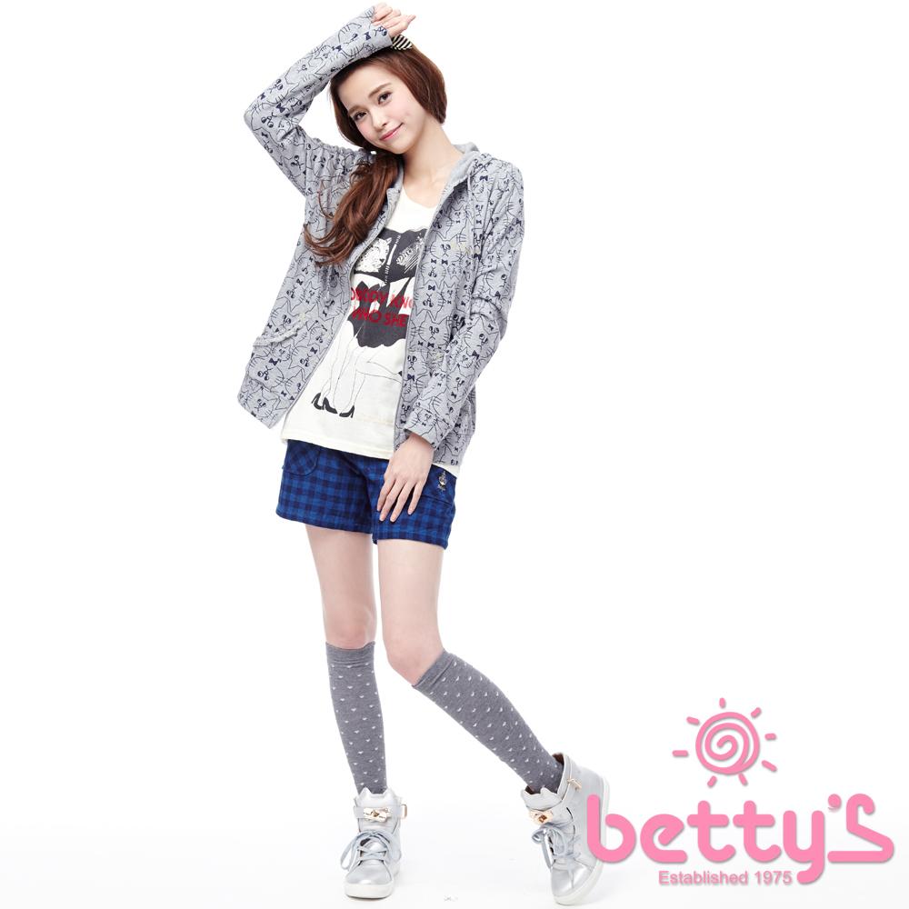 betty's貝蒂思 設計口袋純棉格紋短褲(深藍)