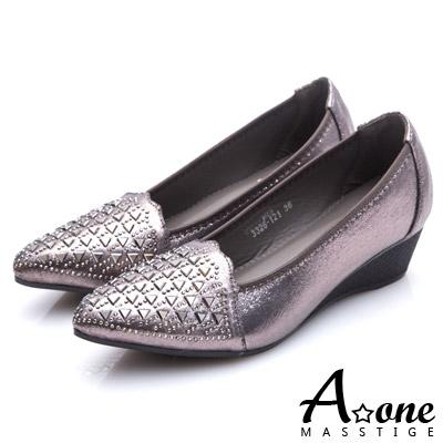A-one-閃亮燙鑽尖頭楔型跟鞋-銀灰