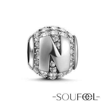 SOUFEEL索菲爾 925純銀珠飾 字母 N 串珠