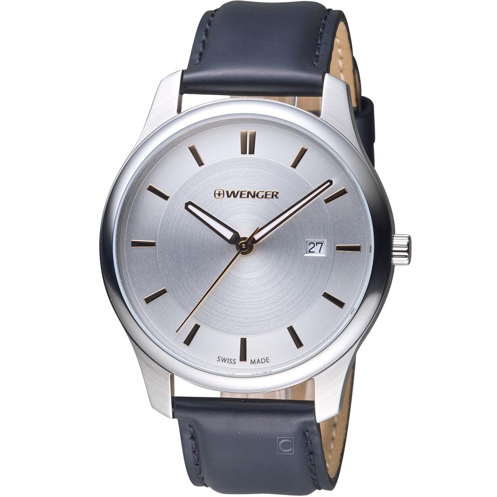 瑞士WENGER City 城市系列 經典簡約紳士腕錶-銀色/43mm
