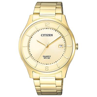 CITIZEN 璀燦金色錶帶商務男仕手錶(BD0043-83P)-金/38mm