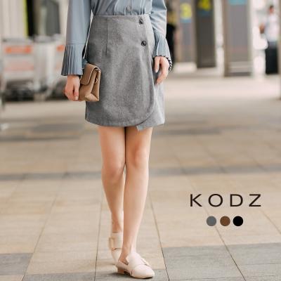 東京著衣-KODZ 素色呢料前開釦一片裙-S.M(共三色)