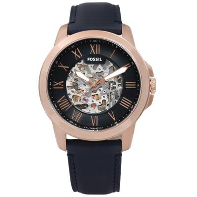 FOSSIL Grant歐美經典工業風鏤空機械真皮腕錶-深藍x玫瑰金框/44mm