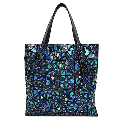 ISSEY MIYAKE三宅一生BAOBAO幾何浮雕寶石6x6鏡面手提包(藍綠彩)