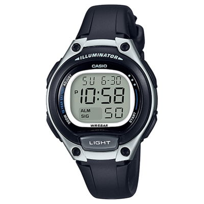 CASIO 簡約造型超實用數位休閒錶-藍框(LW-203-1A)銀x黑/34.6mm