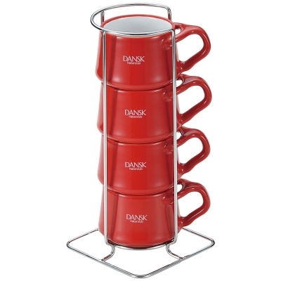 [Outlet] DANSK 陶瓷迷你馬克杯120ml(4件組●紅色)