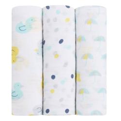 美國idealbaby輕柔新生兒包巾3入-小鴨鴨IB110