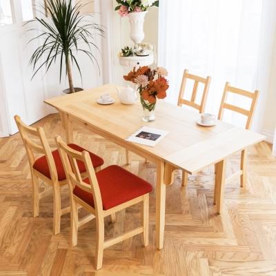CiS自然行-雙邊延伸實木餐桌椅組一桌四椅 74*166公分/原木+橘紅椅墊