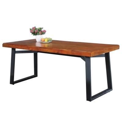 品家居 萊卡4.5尺實木胡桃木紋餐桌-135x90x76cm-免組