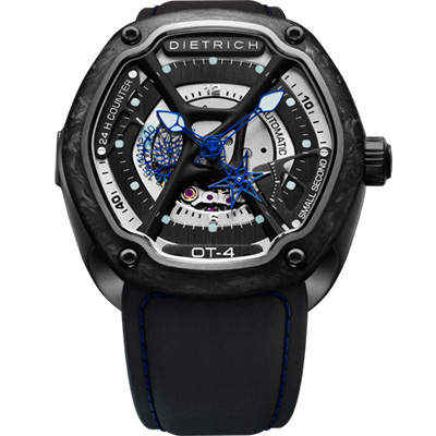 DIETRICH OT系列 生化機械碳纖維鏤空腕錶-黑x藍指針/46mm