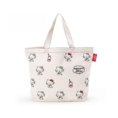 Sanrio HELLO KITTY*BOOFOOWOO刺繡帆布手提袋(白-側坐牛奶)