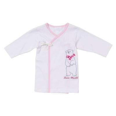愛的世界 北極熊純棉長袖綁帶肚衣-粉/3~6個月