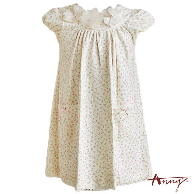 Anny甜美立體花朵領碎花洋裝*4282米白