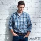 Nautica 經典休閒格紋長袖襯衫-藍白