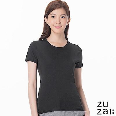 zuzai 自在歸真系列女無重力暖搭短袖衣-黑色