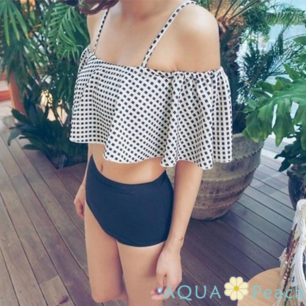 吊帶荷葉高腰泳褲兩件式泳裝 (乳白色)-AQUA Peach