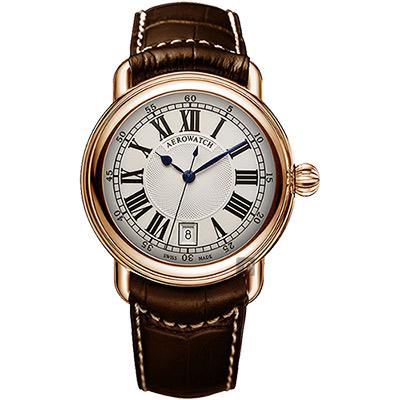 AEROWATCH 經典扭索時尚腕錶-銀x玫塊金框x咖啡/40mm