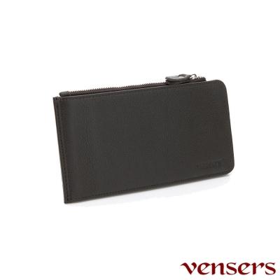 vensers 小牛皮潮流個性皮夾~(NB12101咖啡長夾)