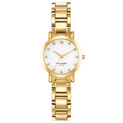 Kate Spade 艾斯皇后晶鑽時尚腕錶-白X金/25mm