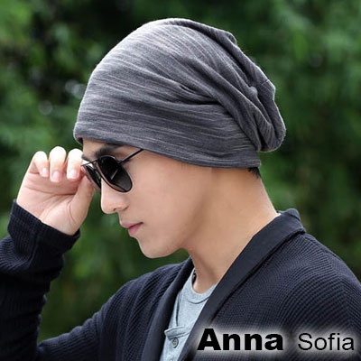 AnnaSofia-層疊條絮-針織薄款帽-灰系