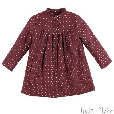 Louise Misha 酒紅色點點鈕扣長版外套