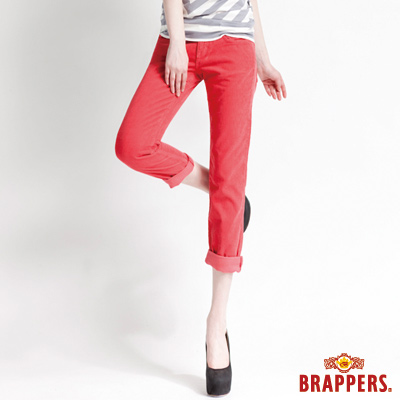 BRAPPERS BoyFriendJeans系列-女款3D八分條絨反摺褲-橘紅