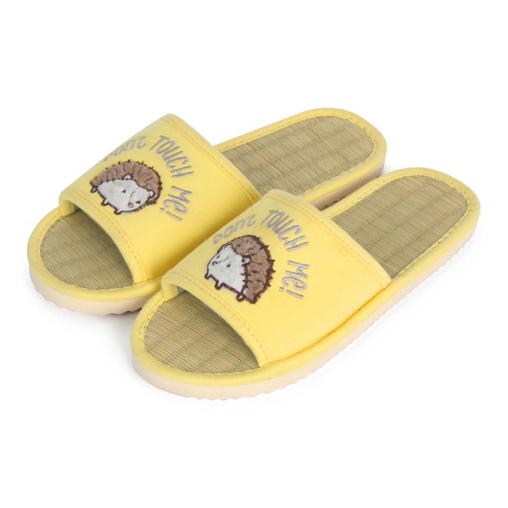 Yvonne Collection刺蝟藺草室內拖鞋-黃M