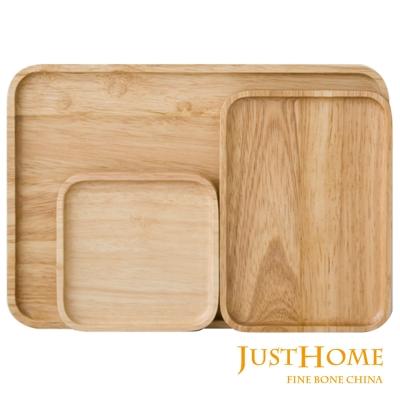 Just Home橡膠原木方型托盤3件組30cm+19cm+12.5cm(台灣製)