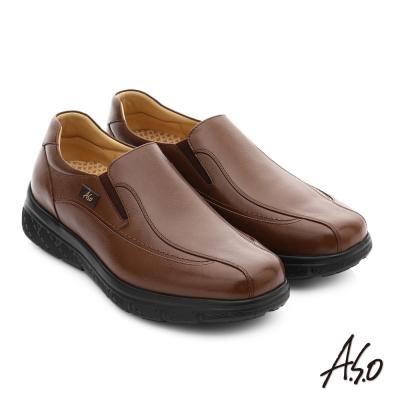 A.S.O 超能耐 都會休閒羊紋牛皮奈米直套式皮鞋 咖啡色