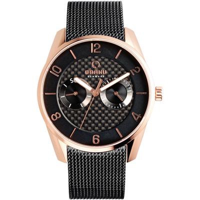 OBAKU 無垠惑星極簡時尚腕錶-玫瑰金x黑米蘭帶/40mm