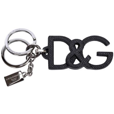 DOLCE & GABBANA Logo皮革鑰匙圈(黑色)
