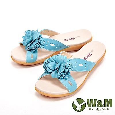 W&M 花朵朵彈力防滑底休閒 女拖鞋-水藍