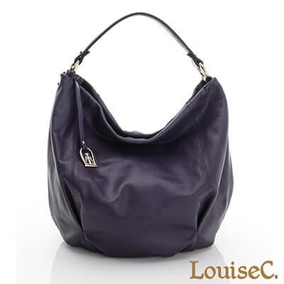 LouiseC.優雅自信牛皮圓桶肩背包-紫色-02C01-0018A10