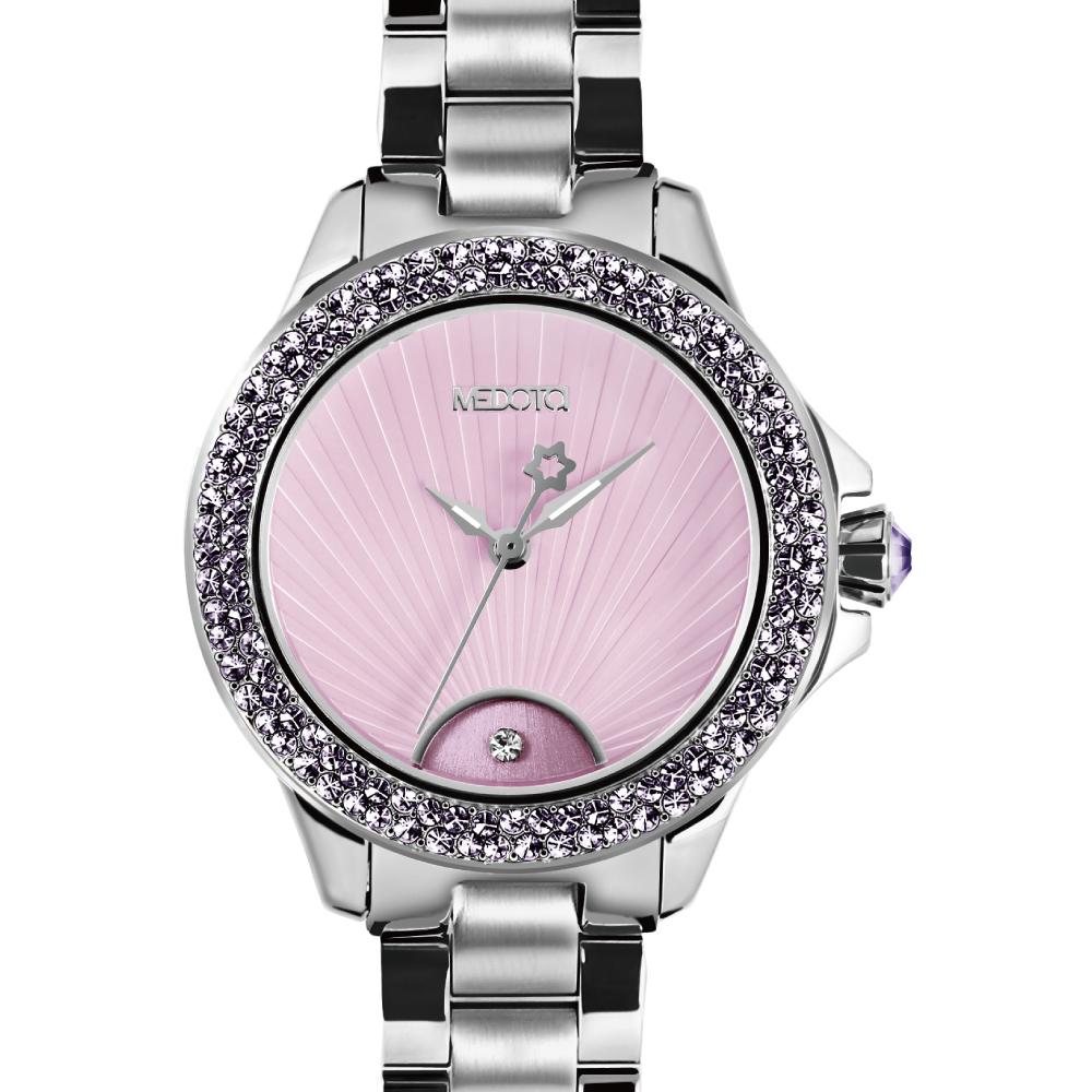 MEDOTA Gratia 雅典系列 優雅光芒晶鑽腕錶-粉紫/37mm